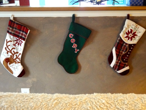 The stockings were hung by the ... kitchen with care? :)