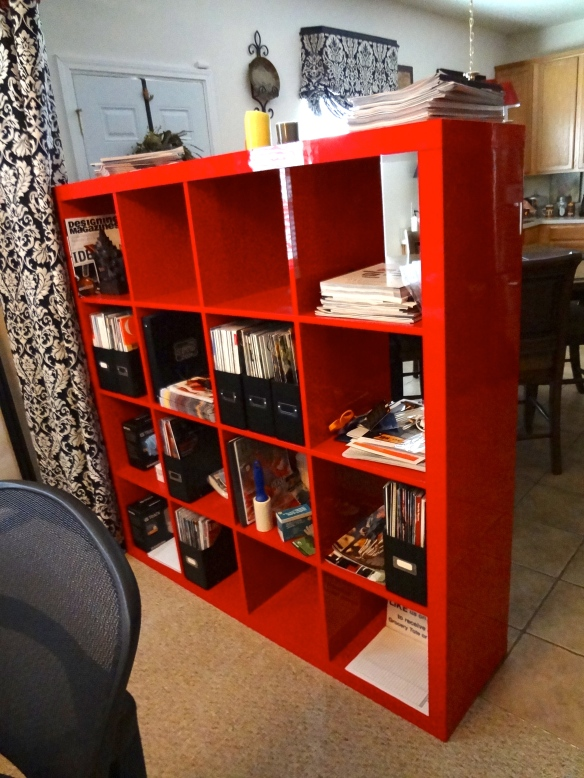 Love IKEA.  Love the red EXPEDIT shelving unit.