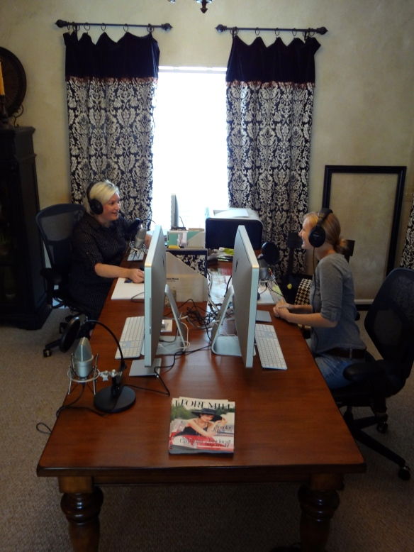 Tracey & Emily recording a podcast.