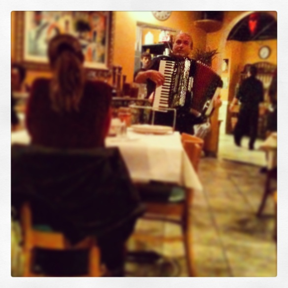 @ Ciro's Italian Restaurant. Yes that is an accordion.