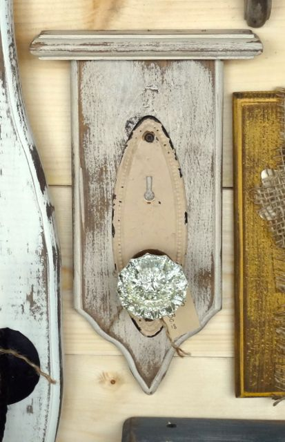 Doorknob Hook on Distressed Wood