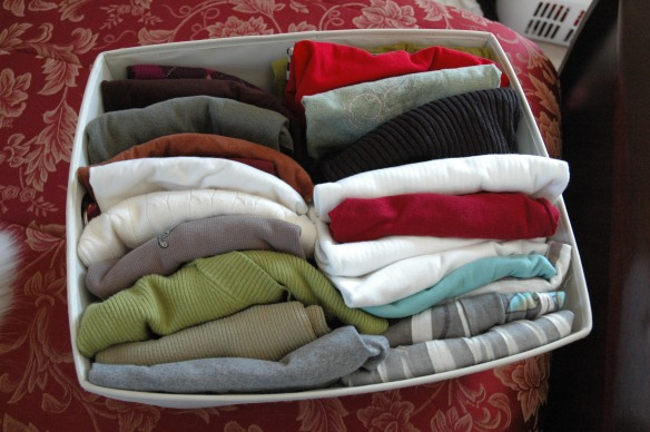 Organized Bin of Clothes